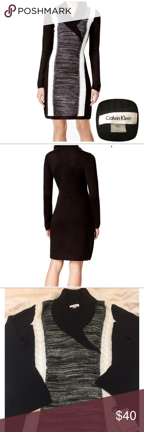 NWT Calvin Klein black & white knit sweater dress Brand: Calvin Klein   Size: Large Black & White Color Block Knit Sweater Dress 100% Acrylic  Great winter dress paired with boots for office/ work or a night out. Perfect as a gift for someone. Questions? Please ask prior to purchasing. Calvin Klein Dresses
