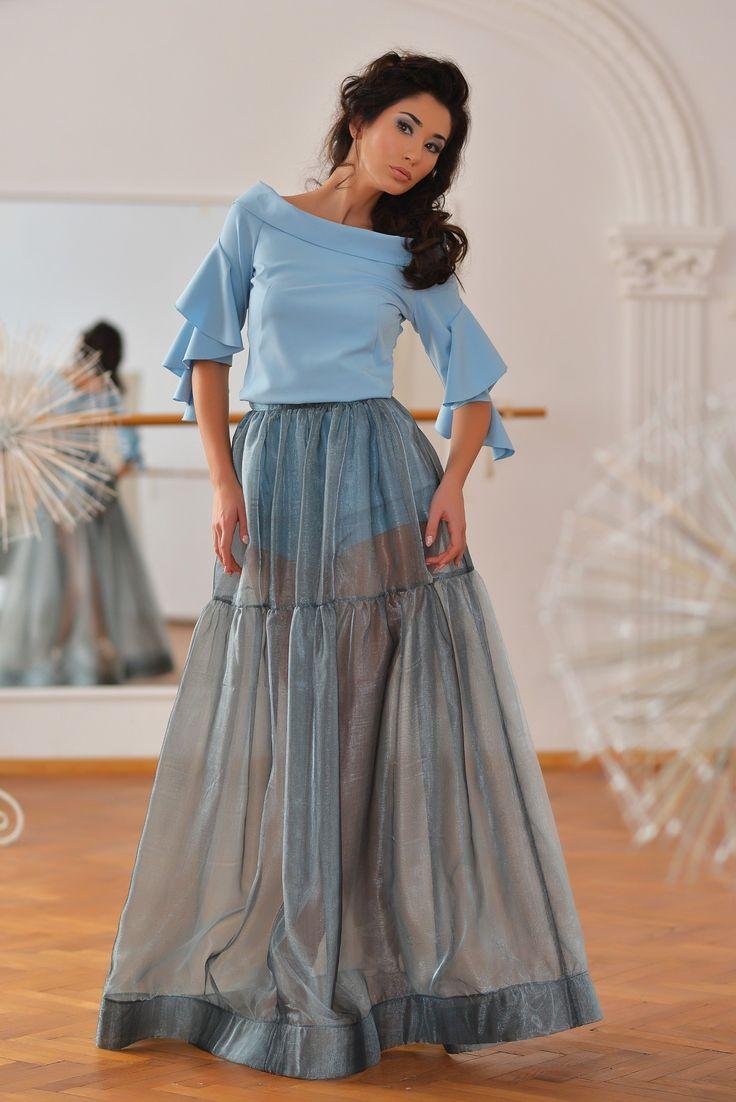 Pavo Top (Serenity Blue Ruffle Sleeve Top) & Orion Skirt (Gradient Blue Organza Skirt)
