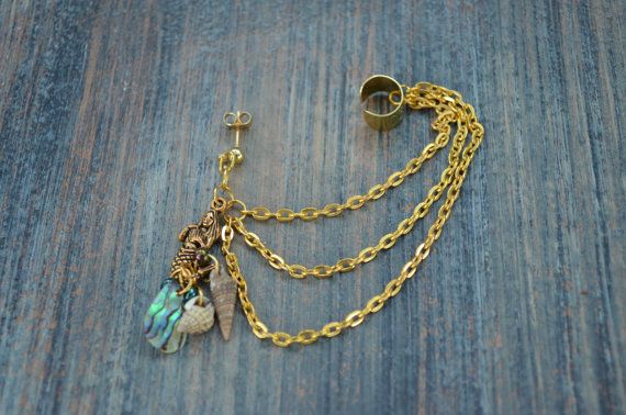 mermaid abalone brass ear cuff with chains by gildedingypsy, $18.00