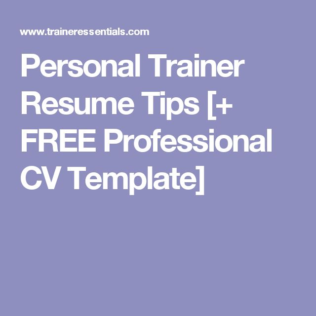 42 best PERSONAL TRAINING Articles images on Pinterest Personal - trainer resume sample