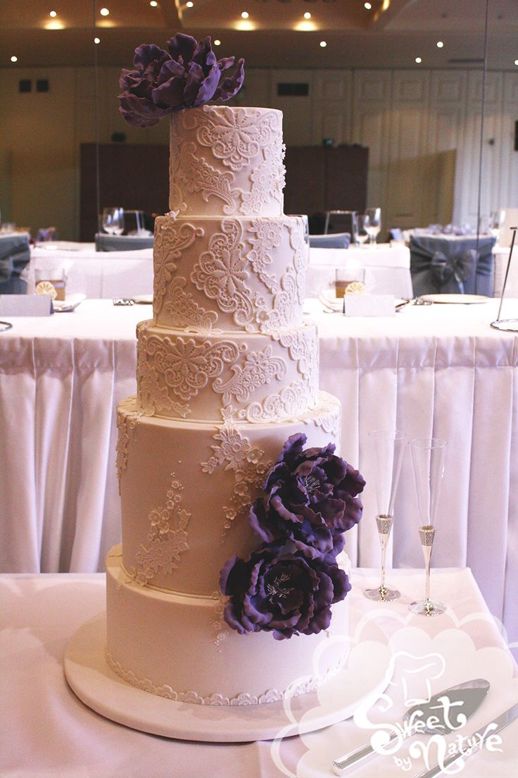 Five Tier Wedding Cake Encased In Sugar Lace And Finished With Frilled Peonies