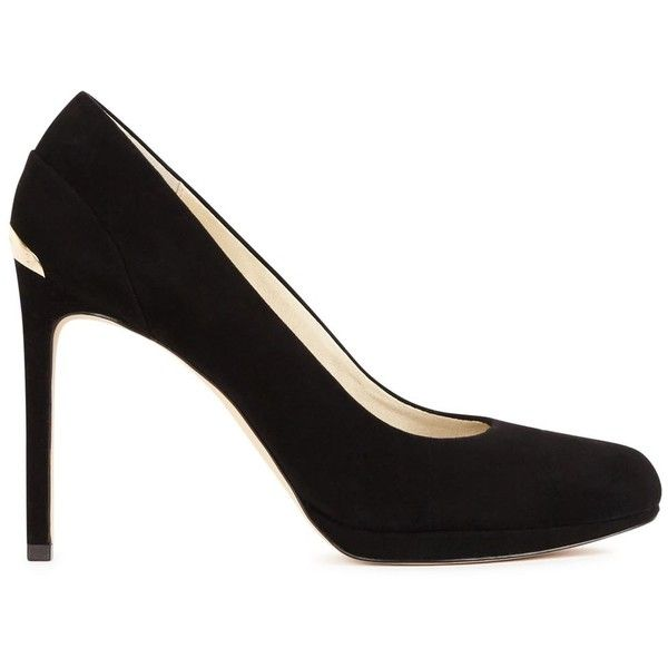 Womens High-Heel Pumps MICHAEL Michael Kors Yasmin Black Suede Pumps ($200) ❤ liked on Polyvore