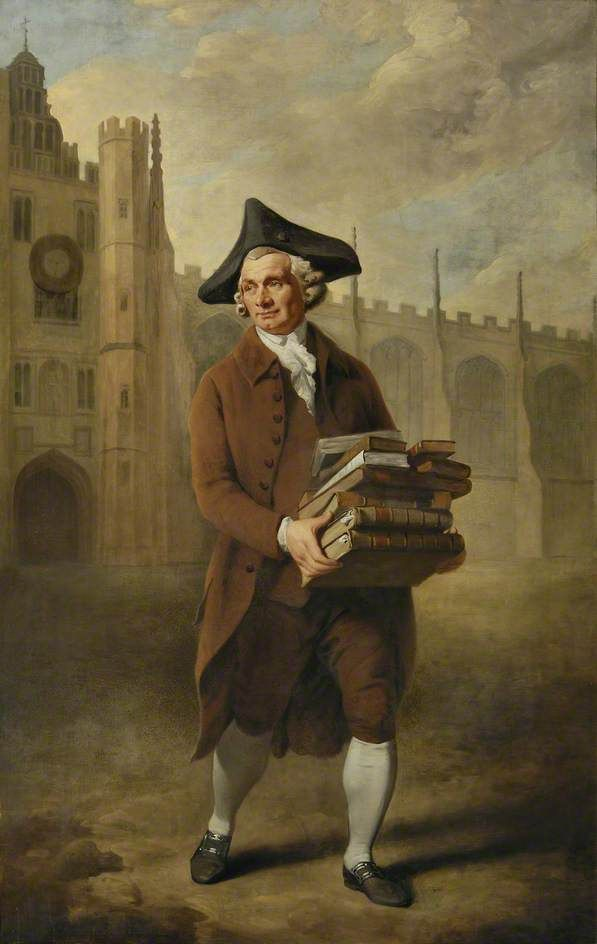 """books0977: """" John Nicholson, a Cambridge Bookseller Known Universally as 'Maps' (1788). Philip Reinagle (English, 1749-1833). Oil on canvas. Cambridge University Library. Bookseller Nicholson was called 'Maps,' as he had the habit of announcing..."""