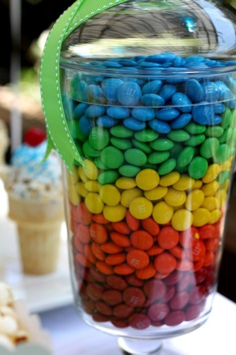 Color stacked candy in vase
