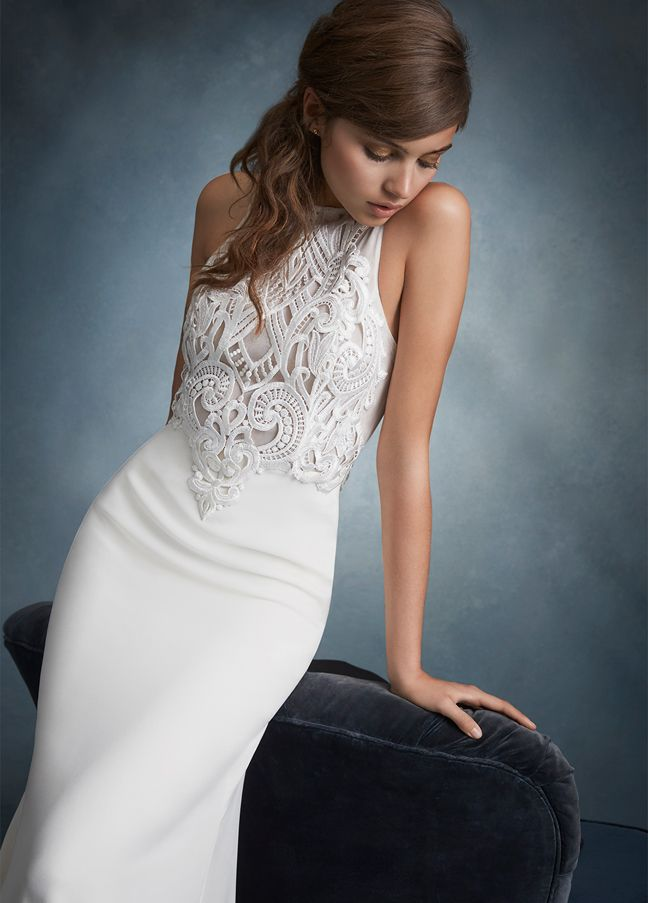 tara-keely-bridal-sheath-venise-lace-bodice-with-jeweled-neckline-front-and-back-and-chapel-train-2606_zm http://itgirlweddings.com/tara-keelys-2016-spring-collection/