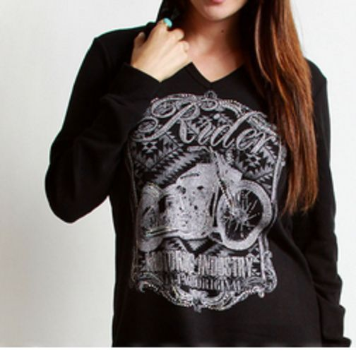 Plus Size Long Sleeve Thermal Hoodie with Stone Embellishment Biker Style…