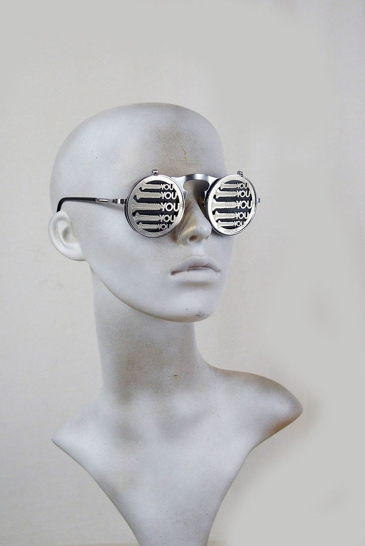 Round metal flip up sunglasses perforated stainless steel lens Screw You