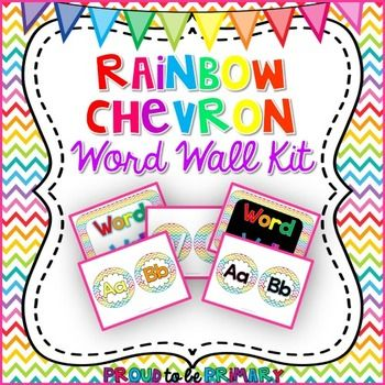 Rainbow Chevron Word Wall Kit which includes: -8 different word wall headers: 4 are single page posters in rainbow with white background, rainbow with black background, aqua with white background, or aqua with black background. 4 are individual circles with the letters spelling WORD WALL in rainbow, black, white, or