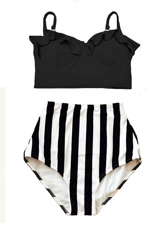 Black Midkini Top and White/Black Stripe High by venderstore