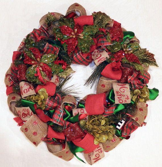 Burlap Ribbon Wreath Joy to the World wreath Christmas