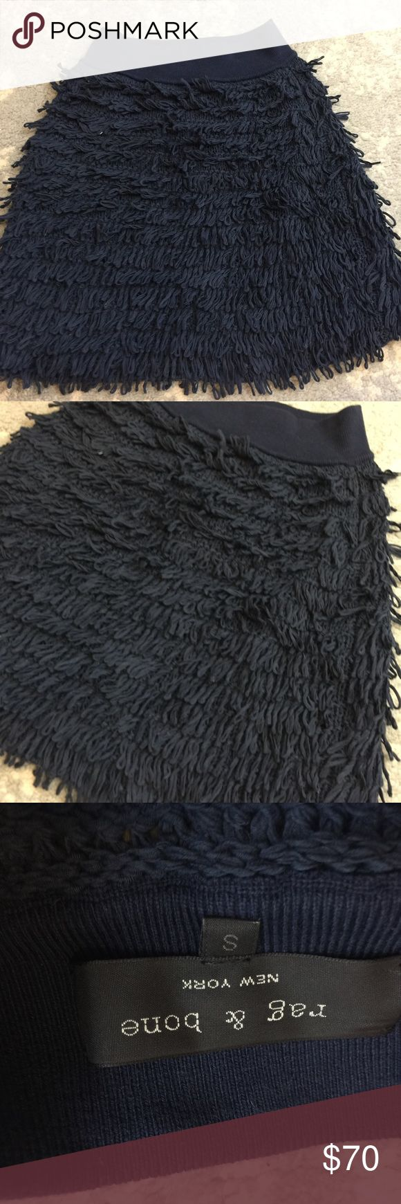 Rag & Bone Navy Looped Yarn Shaggy Mini Skirt Rag & Bone Skirt navy in color with a gorgeous looped knit texture and is tiered with no lining. Short and has a ribbed waistband. Size small and is super gorgeous and modern. rag & bone Skirts