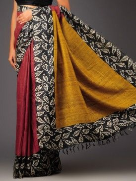 Red-Mustard Yellow Organic Silk Handloom Saree by Color Carnival