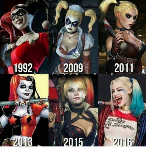 Harley Quinn. Evolution. I actually play Batman arkham knight and was astounded by the fact that Harley was in it