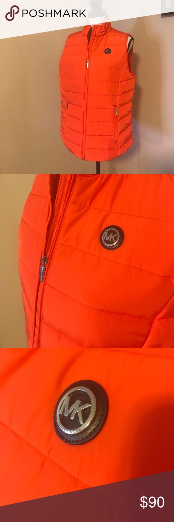 NWT ORANGE MICHAEL KORS PUFFER VEST SIZE L Length is 25 inches. Chest is 21 inches across. MICHAEL Michael Kors Jackets & Coats Vests