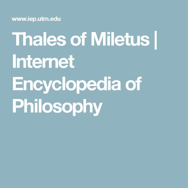 Thales of Miletus | Internet Encyclopedia of Philosophy