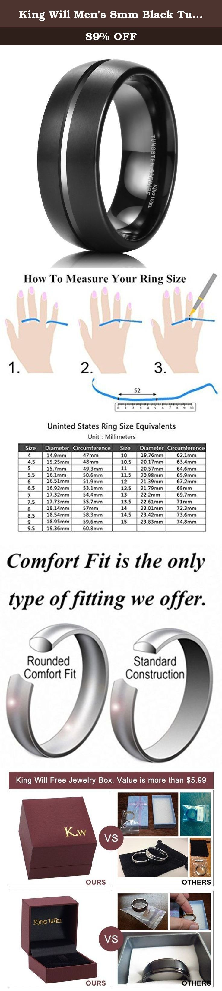 "King Will Men's 8mm Black Tungsten Carbide Ring Domed Matte Finish Groove Wedding Band Size Size(7). King Will, not only No.1 brand of tungsten carbide ring on Amazon King Will, not only an excellent brand of tungsten ring on Amazon, but also means strong will and great courage like spirit of a king, whenever facing at any dilemma. ""You never know how strong you are until being strong is the only choice you have."" Tungsten, hardness is second only to diamond. Inspired by the meaning…"