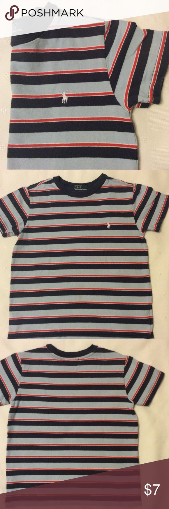 Boys Polo tee shirt.  $4 with bundle Navy, powder blue, red and white stripes. Polo by Ralph Lauren Shirts & Tops Tees - Short Sleeve