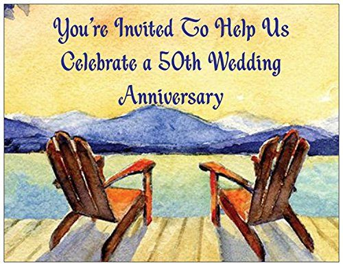 buy now   $16.95     (adsbygoogle = window.adsbygoogle || []).push();  50th Wedding Anniversary Invitations in a postcard format with fill-in information on the back side. Package includes 25 invitations and envelopes. Also see our separate listing for matching Happy 50th Anniversary...