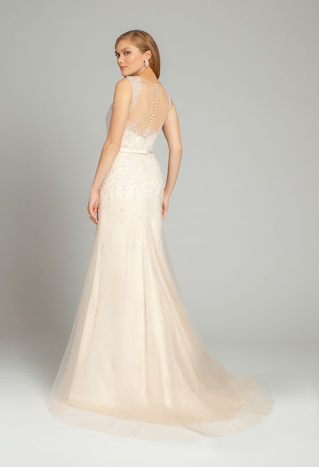 Crystal Pearl Illusion Button Back Tulle Dress From Camille La Vie And Group Usa Dresses Tulle Dress Wedding Dresses