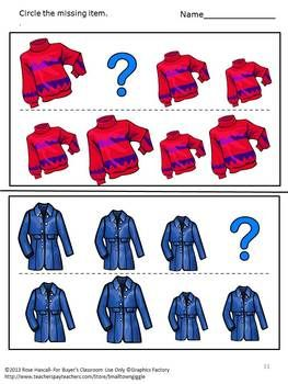 Preschool: Sorting, comparing sizes and identifying patterns help preschool students develop strong math skill. With this Sorting By Size-Winter Clothing Worksheet set students can practice all of these skills.