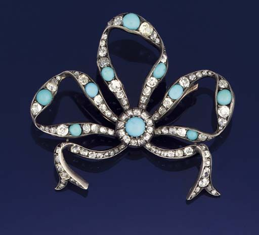 A diamond and turquoise brooch  Of old brilliant-cut diamond ribbon bow design with cabochon turquoise accents, mounted in silver and gold, with detachable brooch fitting, circa 1870