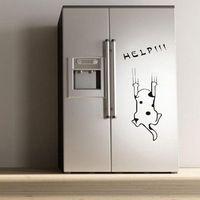 Nieuwe Gekwalificeerde patroon mode Kat van de cartoon Koelkast keukenkast muurstickers DEC21