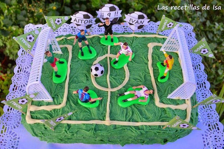 """Las recetillas de Isa: Pastel de cumpleaños """"campo de fútbol"""""""