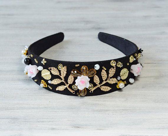 Bandeau de cristal or noir Baroque vintage par BohoandBarocco