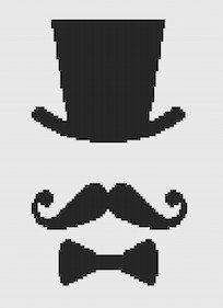 French Mustache Modern Cross Stitch Pattern PDF Chart Black Silhouette Vintage…