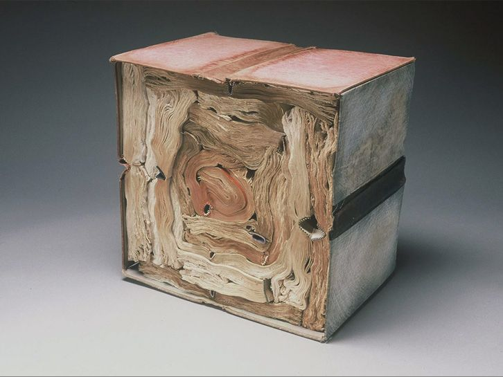 Jacqueline Rush Lee, United States, Cube, 2001, From Volumes Series, Soaked, dried, scraped, manipulated book components, (knižné objekty)
