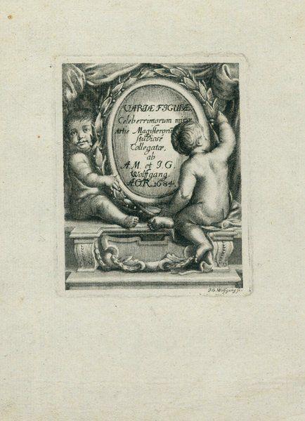 """""""Амуры со щитом"""" (Титульный лист альбома). Иоганн Георг Вольфганг (1662-1744)  1704-1740. Из коллекции ГМЗ """"Петергоф"""""""