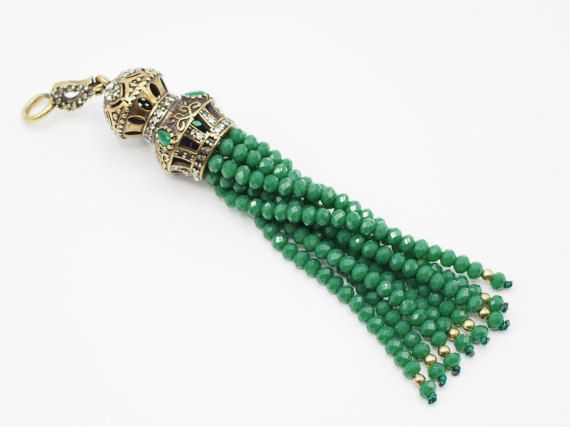 Pendant Tassel with Green Crystal Stone Jewelled Metal