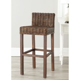Safavieh St. Thomas Indoor Wicker Brown Bar Stool | Overstock.com Shopping - The Best Deals on Bar Stools