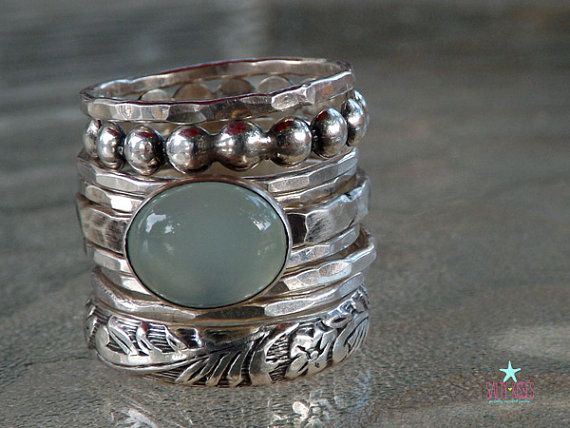 BIG beautiful chunky stack of sterling silver rings with sea foam aqua chalcedony beaded band floral band set of 9 stacker stacking jewelry