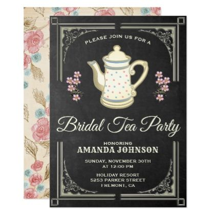 Vintage Floral Tea Party Bridal Shower Invitation - floral style flower flowers stylish diy personalize