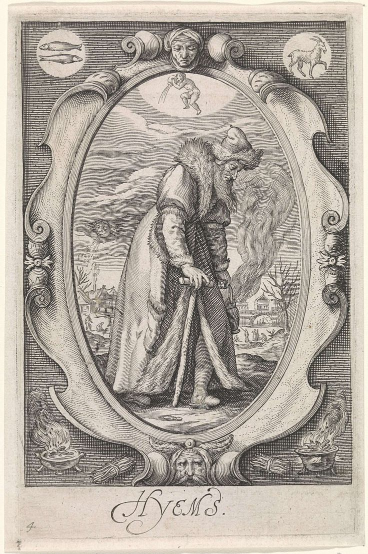 Personificatie van de winter (hyems), Jacob Matham, 1588 - 1602