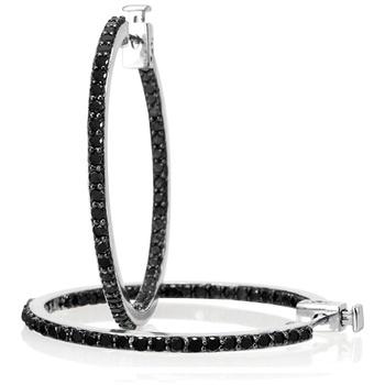 $149.99 - 2.05 Carat Black Diamond Inside Out Hoop Earrings in Sterling Silver