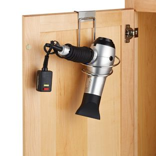 Large Overcabinet Hair Dryer Holder from the container store. A true must have!