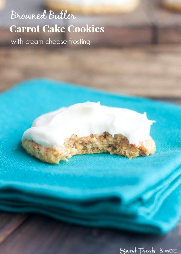 Browned Butter Carrot Cake Cookies {with Cream Cheese Frosting}