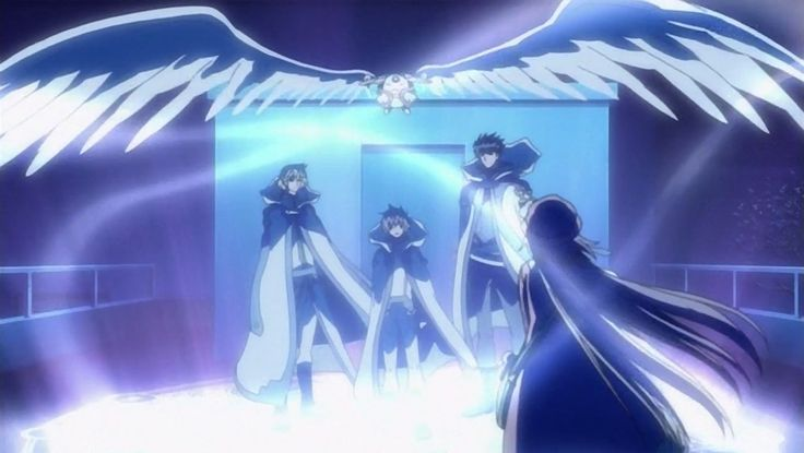 "Kobato ~~ Cue the music! The ""Tsubasa"" team must move on... :: Kurogane, Fai, Syaoran, Mokona, Kobato"