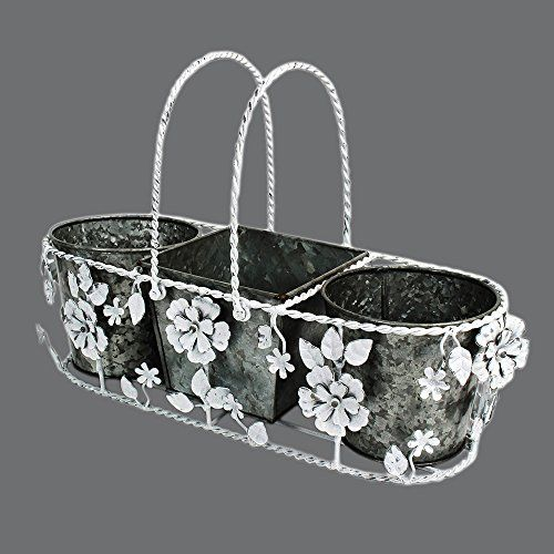 Set of 3 Bucket Planters with Removable White Floral Cover  Handle  Flower Bud Plant Pot  Iron Garden Containers Accessories *** For more information, visit image link.