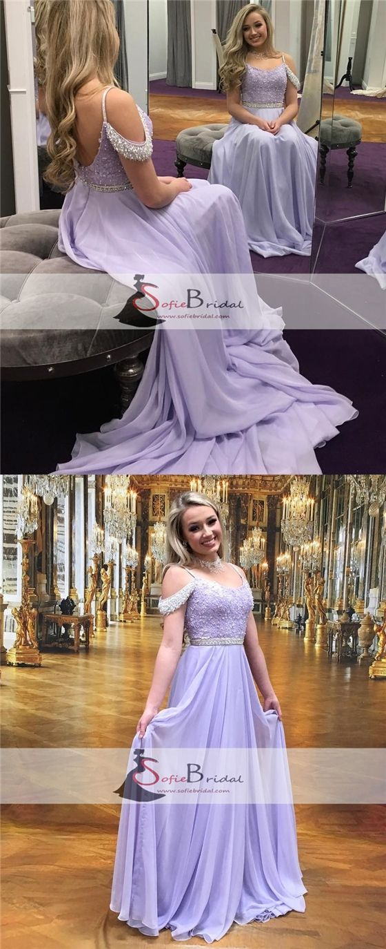 Lilac Off Shoulder Chiffon Off Shoulder Lace Beaded Prom Dress, A-line Prom Dresses, PD0446 #promdresses