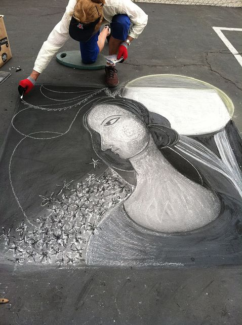 At Chalk It Up 2013 yesterday:  Chalk Art inspired by Hannah Frank, by Georgette Gantner