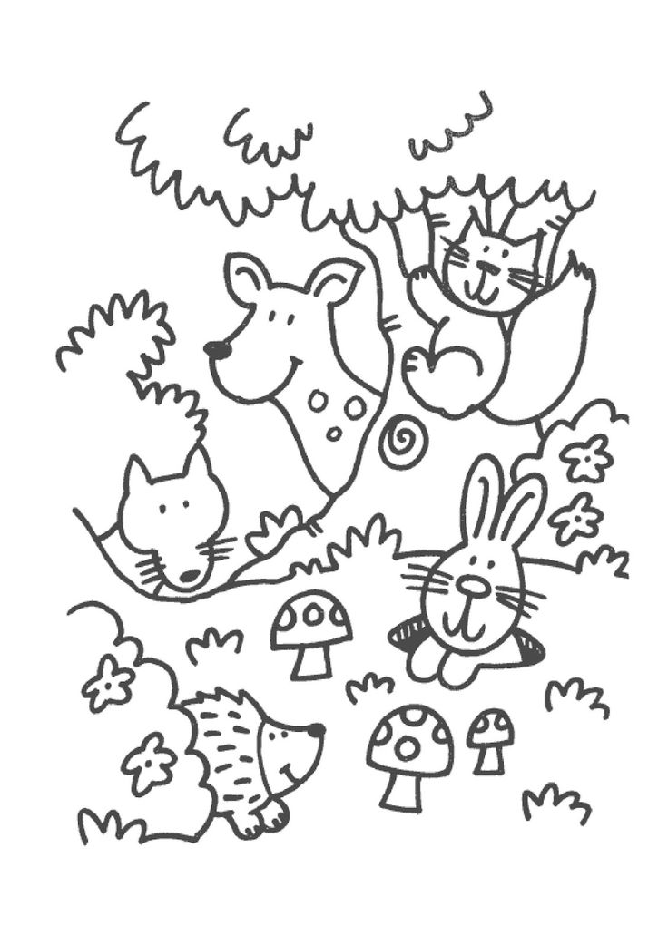 Herfst Super Cute For The Littles To Color K8haze Animal Coloring PagesForest
