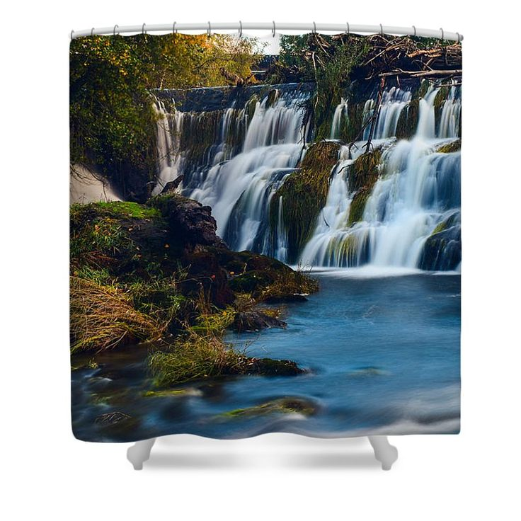 "Summer At Tumwater Falls Shower Curtain by Kevin Wickersham.  This shower curtain is made from 100% polyester fabric and includes 12 holes at the top of the curtain for simple hanging.  The total dimensions of the shower curtain are 71"" wide x 74"" tall."