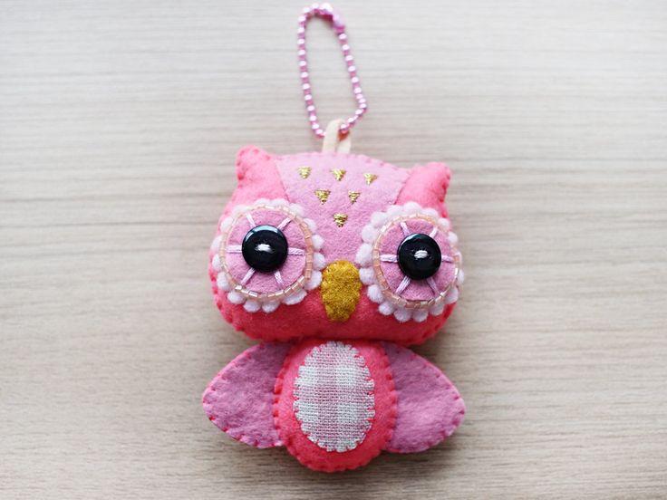Owl Felt Keychain - cute accessories -  Kawaii -Pink owl plush - READY TO SHIP. $21.00, via Etsy.