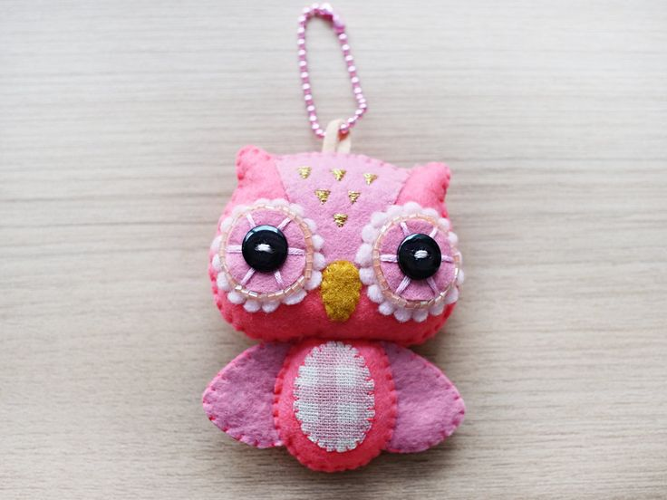 Owl Felt Keychain - cute accessories -  Kawaii -Pink owl plush - READY TO SHIP. $21.00, via Etsy.