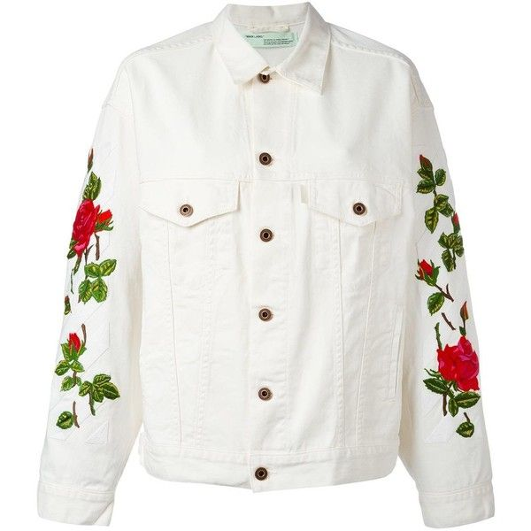 Off-White rose embroidered jacket ($910) ❤ liked on Polyvore featuring outerwear, jackets, coats & jackets, off-white, print jacket, embroidered jacket, embroidery jackets, off white jacket and pattern jacket