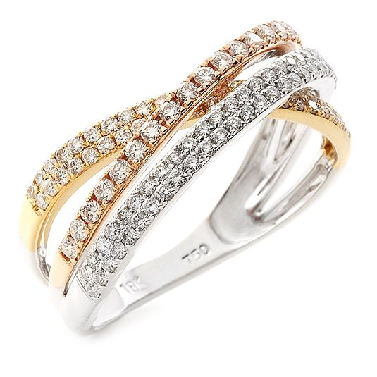 18 CARAT WHITE, YELLOW AND ROSE GOLD DIAMOND RING is such a unique design and one way to get a three in one!