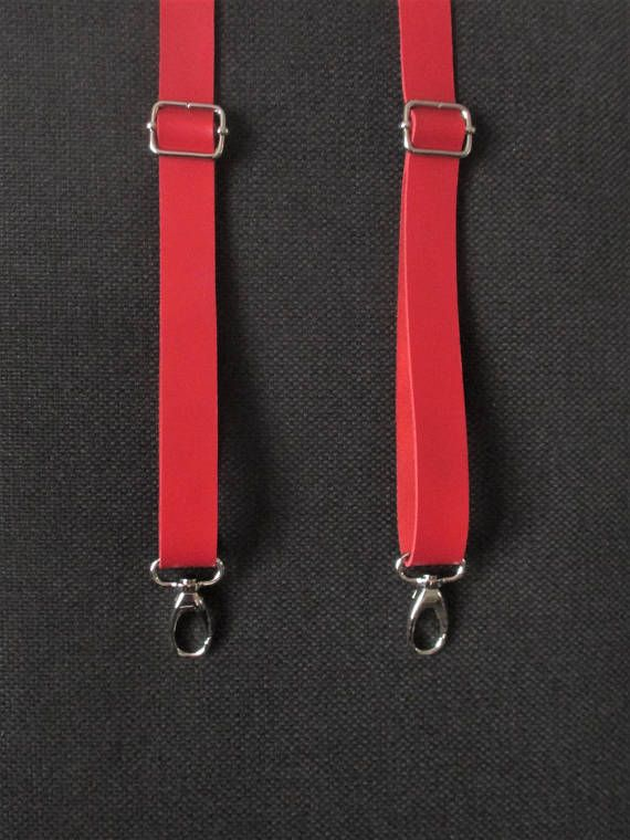 conception adroite vif et grand en style classcic RED SUSPENDERS all leather with snap hooks , braces for men ...